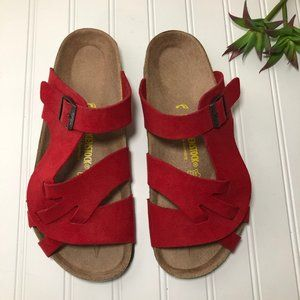 Birkenstock Red Suede Slides/Sandals Size 40